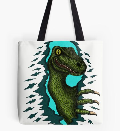 Raptor is Here funny dinosaur cartoon drawing Tote Bag