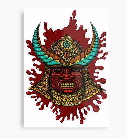 Japanese Helmet with Mask cartoon drawing art Metal Print