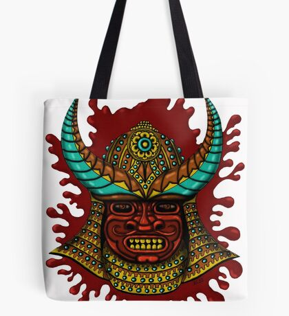 Japanese Helmet with Mask cartoon drawing art Tote Bag