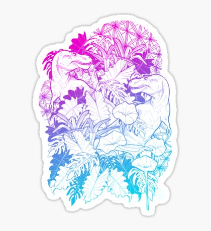 T Rex Pink and Blue Sticker