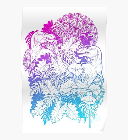 T Rex Pink and Blue Poster