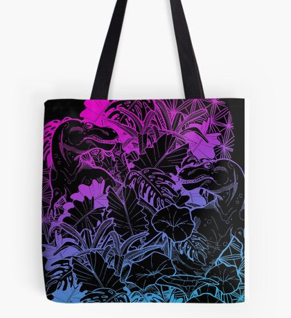 T Rex Pink and Blue Tote Bag