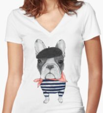 Frenchie With Arc de Triomphe Women's Fitted V-Neck T-Shirt