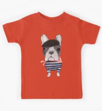 Frenchie With Arc de Triomphe Kids Tee