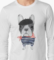 Frenchie With Arc de Triomphe Long Sleeve T-Shirt