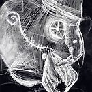 cyborg undead sad Bird Brain Parrot machine drawing inverted by Followthedon
