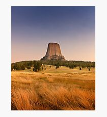 Devils Tower at Sunset  Photographic Print
