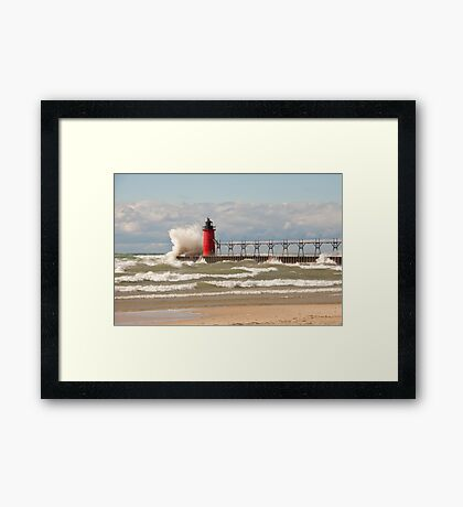 Lighthouse, South Haven, Michigan-3 Framed Print