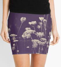 Queen Anne's Lace Monochrome Botanical Mini Skirt