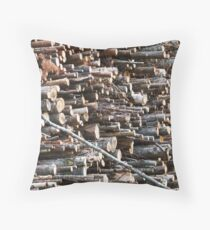 Wood, Stacked Throw Pillow