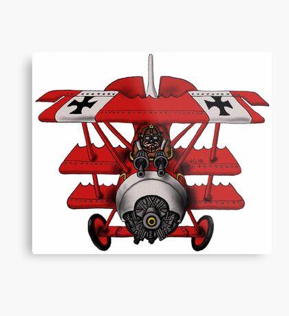 Red Baron airplane funny cartoon Metal Print