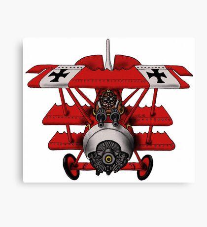 Red Baron airplane funny cartoon Canvas Print