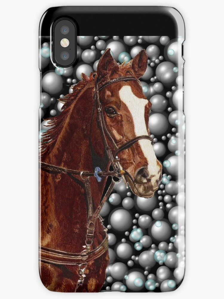 Horse & Bubbles iPhone Cases by Patricia Barmatz