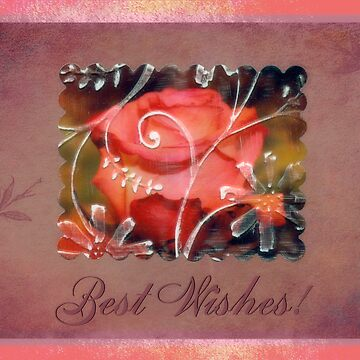 Pinky Orange Rose Best Wishes Card by SandraFoster