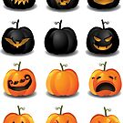 Black and Orange Jack 'o Lanterns by cartoon