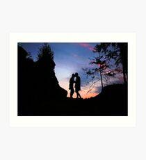 Couple Kissing at Sunset Art Print