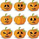 Orange stylized Jack O' Lanterns for Halloween or whenever by cartoon