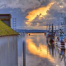 Burning Clouds in the Harbor by Dale Lockwood