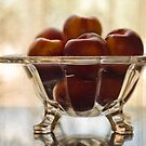 Still Life with Peaches in Glass Bowl by Martie Venter