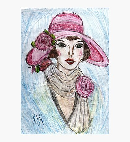 Flapper In A Pink Hat Photographic Print