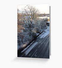 Snow Morning and birds in Växjö Greeting Card