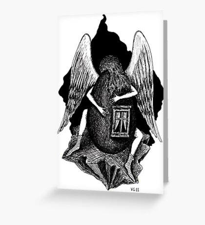 Angel with Egg surreal black and white pen ink drawing Greeting Card