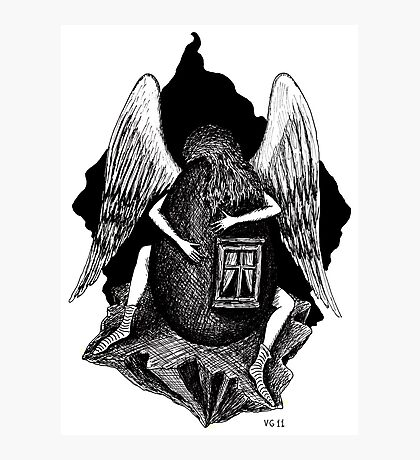 Angel with Egg surreal black and white pen ink drawing Photographic Print
