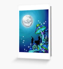Alice in Wonderland and White Rabbit Greeting Card