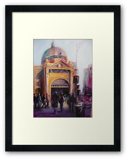 Morning bustle Flinders street Station Melbourne by Ivana Pinaffo