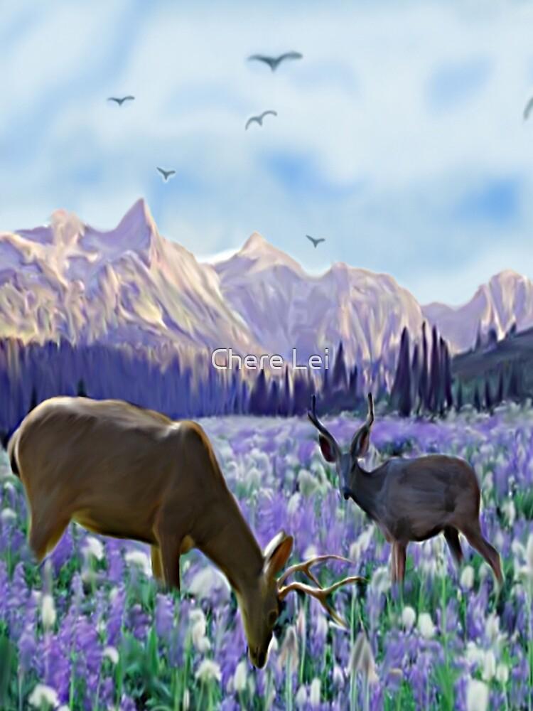 Deer in a Field of Purple Flowers by Chere Lei