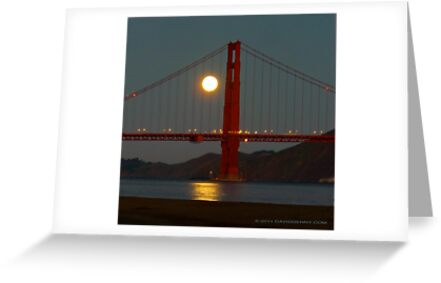 Full Moon and the Golden Gate Bridge by David Denny