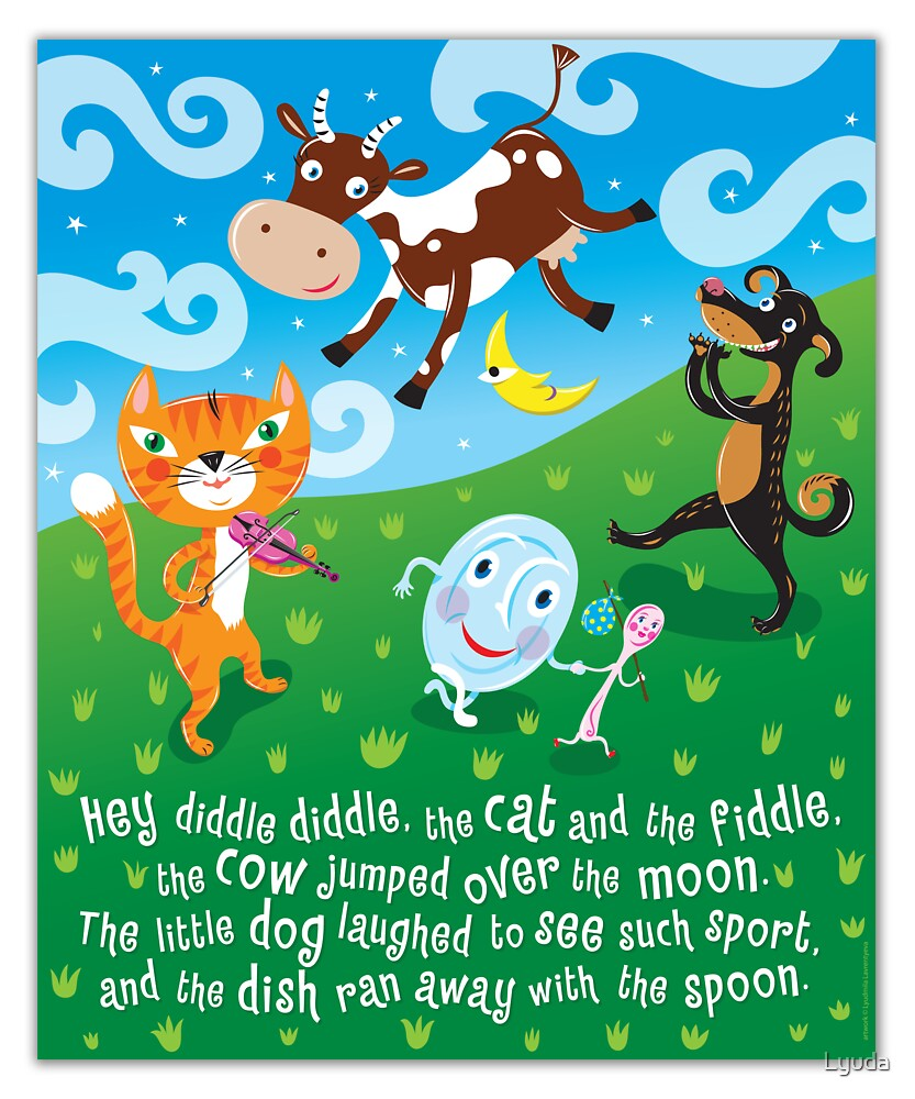 Quot Hey Diddle Diddle Nursery Rhymes Quot By Lyuda Redbubble