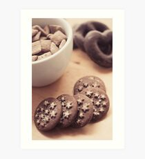 Chocolate biscuits and more chocolate sweets Art Print