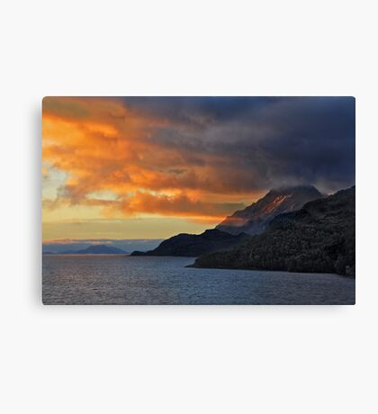 Sunset on the Chilean Fiords Canvas Print