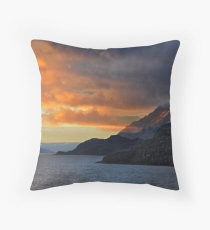 Sunset on the Chilean Fiords Throw Pillow
