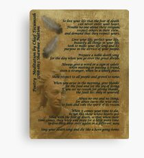 """Live Your Life""  on old parchment, Chief Tecumseh Canvas Print"