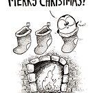 3 Christmas Stockings, 1 Fat Penguin! by afatpenguinshop