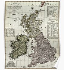 Antique Map of the British Isles Poster