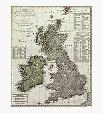 Antique Map of the British Isles Photographic Print