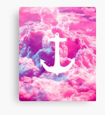 Girly Nautical Anchor Bright Pink Clouds Sky Canvas Print