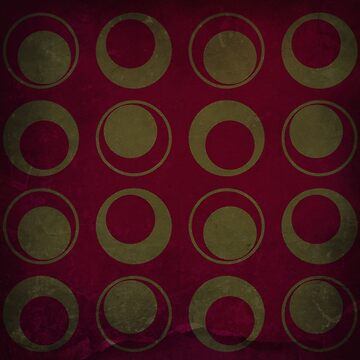 Gold Circles on Deep Red - Retro Style  by ibadishi