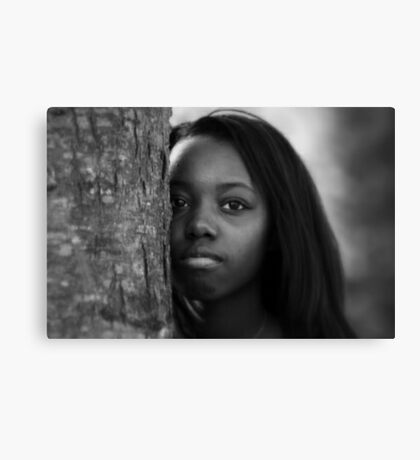 A Girl Behind the Tree Canvas Print