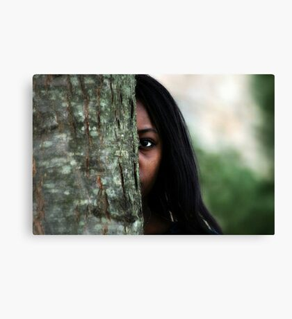 Girl Behind the Tree Canvas Print