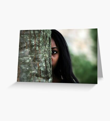 Girl Behind the Tree Greeting Card