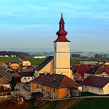 Village and church in warm sundown light | landscape photography by patrickjobst