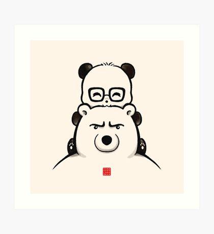 Panda And Polar Bear Art Print