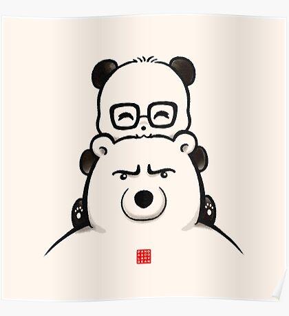 Panda And Polar Bear Poster