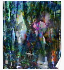 Abstract Unfolding Jewel Toned Patterns Poster