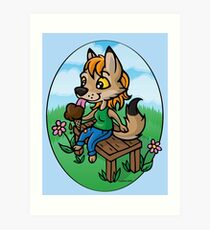 Summertime Treat - Coyote with Ice Cream Art Print