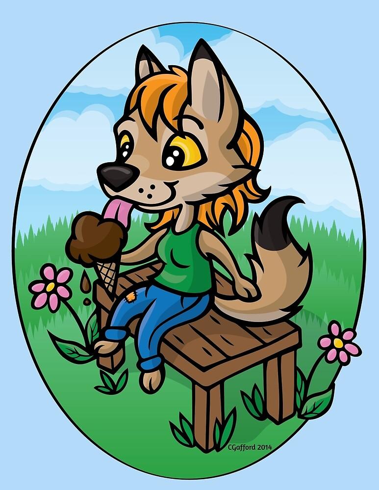 « fleurs et glace au chocolat! Cette douce illustration est sûre de vous faire sourire! » par CGafford